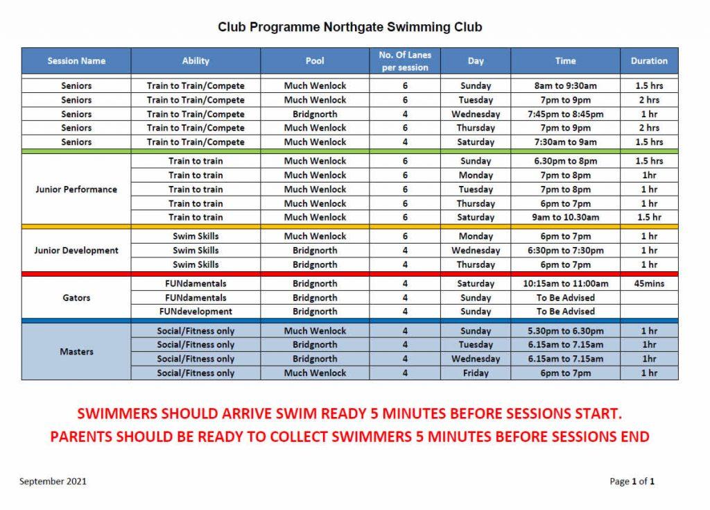 Northgate Training Schedule 2021
